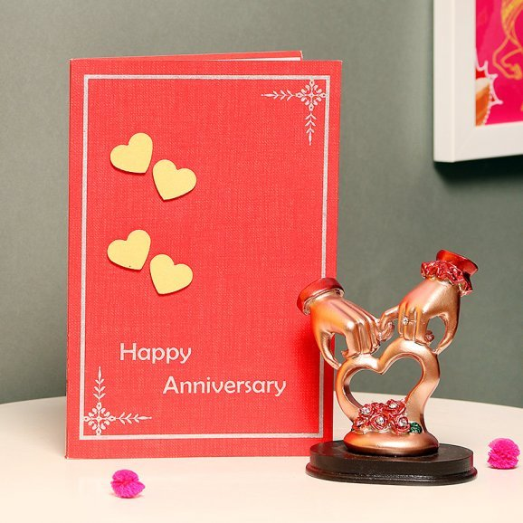 Combo of Trophy of 2 Hands Holding Together and Greeting Card