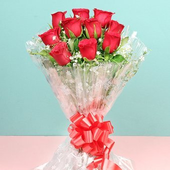 Ten Red Roses Bunch