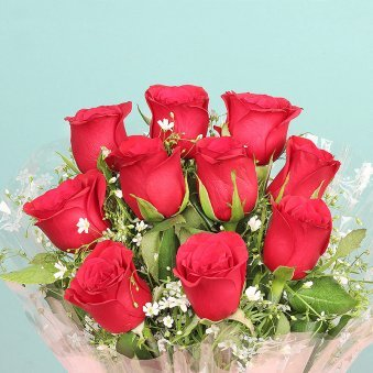 Ten Red Roses Bunch with Zoomed in View
