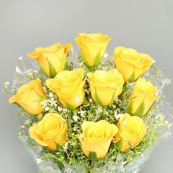 Bunch of 10 Yellow Roses with Zoomed in View