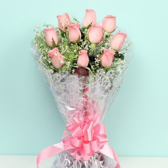 Bunch of Ten Pink Roses