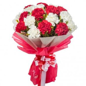 10 Red Carnations and 10 White Carnations Bouquet in Beautiful Packaging