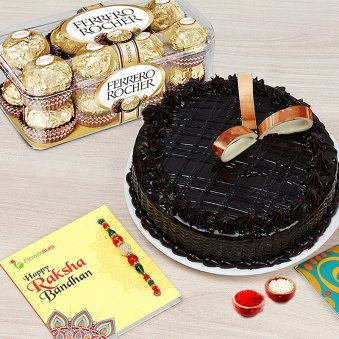 Rakhi with 1/2 KG Chocolate Cake, pack of 16 Pcs Ferrero Rocher