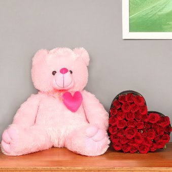 Cuteness Redefined - Combo of 22-inches pink teddy bear and heart shape bouquet of 35 red roses