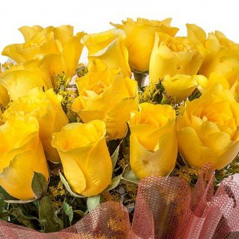 Bunch of 15 Yellow Roses with Zoomed View