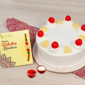 Rakhi with 1 kg pineapple cake in India