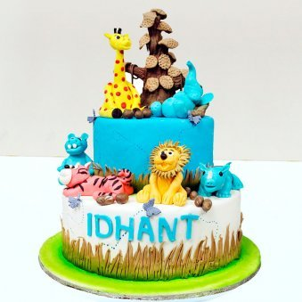2 Tier Jungle Theme Fondant cake