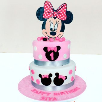 2 Tier Minnie Mouse Designer Birthday Cake For Girl