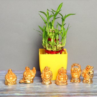 2 Layer Bamboo with Buddha Statues