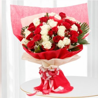 40 Red and White Roses Bunch