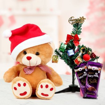 endearing teddy bear and a miniature Christmas tree and a set of two tempting Dairy Milk Silk