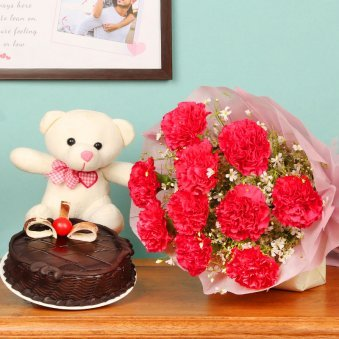 Cuddly Choco Hamper - 10 pink carnation flower with half kg chocolate cake and teddy for valentine