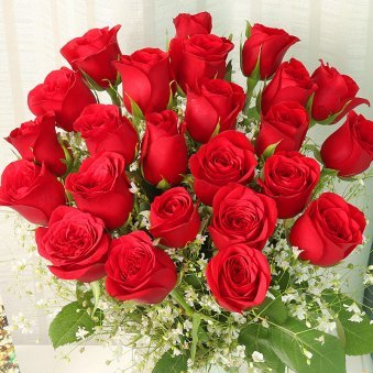 24 Red Roses in Glass Vase with Top View
