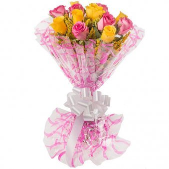 6 Yellow Roses and 6 Pink Roses with Beautiful Packaging