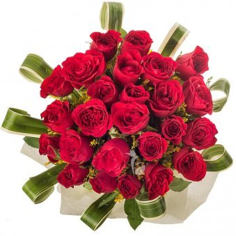 Bunch of 26 Red Roses in Glass Vase with Top View
