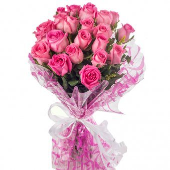 20 Pink Roses Bouquet with Close View