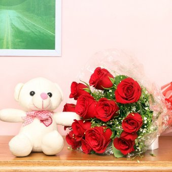 Cuddly Roses Combo Combo of 6 inch teddy and 12 red rose flowers Gift for Him