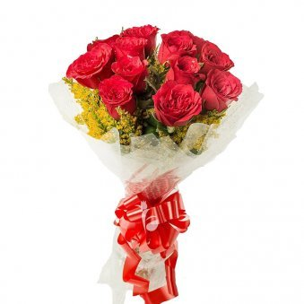 12 Red Roses Bunch with Front View