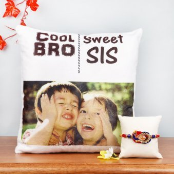 Personalised Cushion with Peacock Rakhi