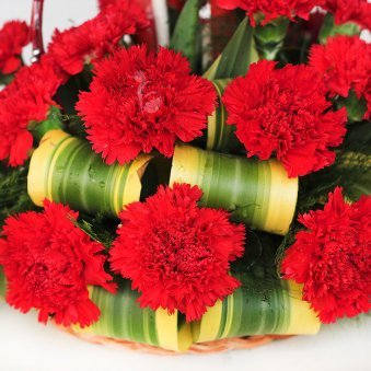 25 Red Carnation Beautiful Arrangement on Table with Zoomed View