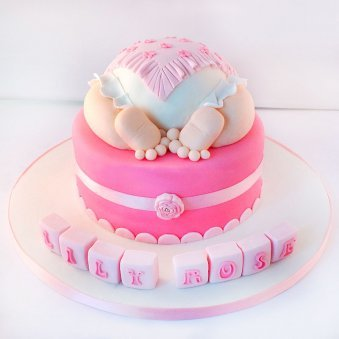 Baby Shower Girl Designer Fondant Cake