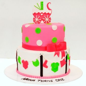 2 Tier Happy Birthday Fondant Cake