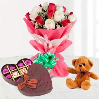 beautiful flower teddy and chocolate combo