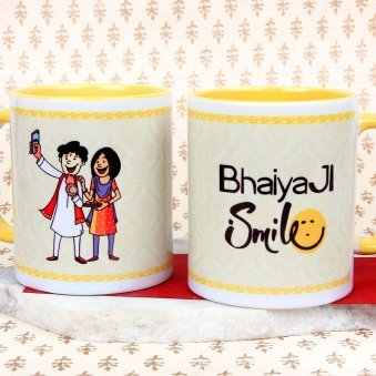 A Wonderful Bhaiya Ji Smile Mug with Both Sided View