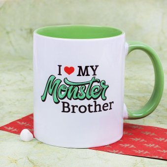 An Awesome I Love My Monster Brother Mug with Front Sided View