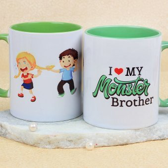 An Awesome I Love My Monster Brother Mug with Both Sided View