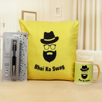 Bhai ka Swag Mug with Bhai ka Swag Cushion and 1 Parker Pen
