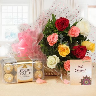 Sisterly Affection Rakhi Gift Hamper - 10 mixed roses with Ferrero Rocher and Roli Chawal