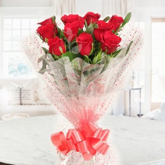 Front view of 10 red roses bunch - A gift of Treasured Bond