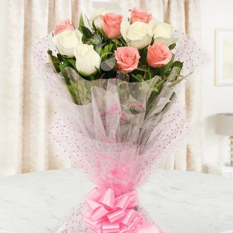 Front view of 5 pink and 5 white roses bouquet - A product of PrecioPrecious N Perfect Combo