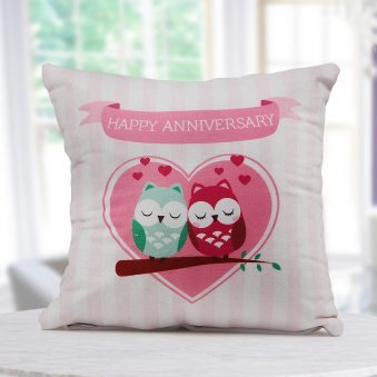"""Happy Anniversary"" quoted a 12x12 digitally printed white and pink color cushion for couples"