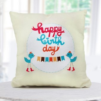 """Happy Birthday"" quoted a 12x12 cream color cushion for that special day of one"