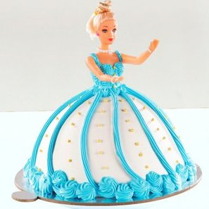 Blue Barbie Theme Fondant Cake for Baby Girl