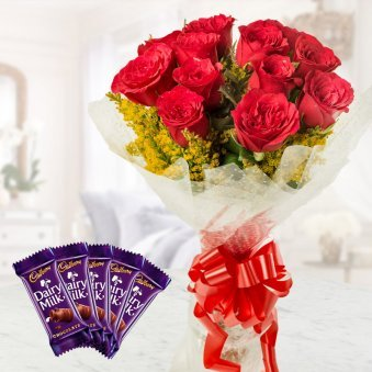 Stuning Red roses With Chocolates combo