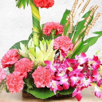 Mixed Color Carnations Lilies and Orchids with Zoomed View