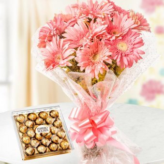 A bunch of 10 pink gerberas and a pack of 24 Ferrero Rocher for Christmas