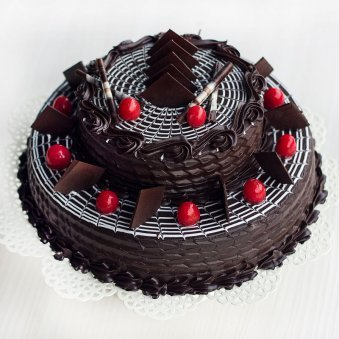 2-Tier Choco Truffle Cake with Top View