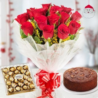 A bunch of 12 Red Colored Roses with the pack of 24 Ferrero Rochersand 1/2 kg delicious Plum Cake for Christmas
