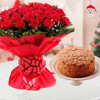 50 Red Roses wrapped with the color of love and pretty ribbons and delectable 1/2 kg plum Cake for Christmas