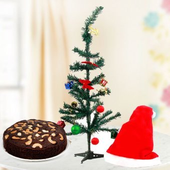 Ornamented Christmas Tree with Santa Cap and 1/2 kg dry fruit cake