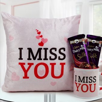 12x12 I Miss You cushion a Red & White I Miss You Mug with 2 Cadbury Dairy Milk Silk