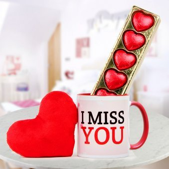 Miss You Mug 5 Heart Shaped Chocolates and Heart Shaped Cushion