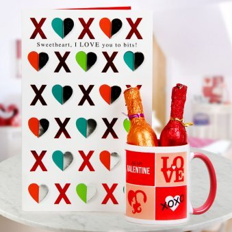A beautiful card A Coffee Mug and Two champagne shaped bottles filled with chocolates