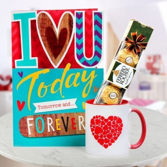 A Love-filled Card A Pack of 4 Ferrero Rocher and One Coffee Mug