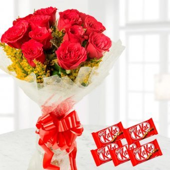 Combo of Red Roses Bunch and Kit Kat Chocolate