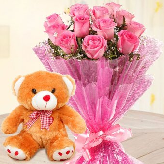 Crazy For Pink And You - Bunch of 12 pink roses and a 12 inch teddy